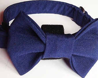 Navy Blue Wedding Collar with Bow Tie for Male Dog or Cat