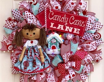 MOVING SALE Holiday Deco Mesh Candy Themed Wreath with Handmade Raggedy Anne Doll and Wood Candy Cane Lane Sign, Christmas Wreath, Candy The