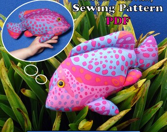 "Sewing Pattern PDF FingerPocketFish3 ""Another Little Fishy"" Puppet Style Action Toy for Children Full Sized Pattern pieces & Instructions."