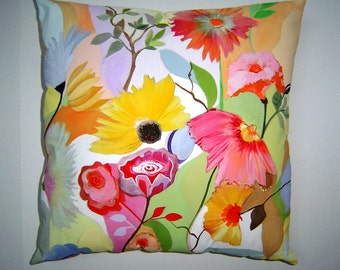 Summer Breezes Pillow - Hand Painted Original Art 16 x 16 Lovely Soft Pastels Colorful Flowers Summer Home Charming Cottage Decor