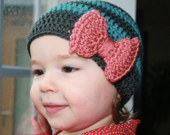 Crochet Pattern, crochet baby hat pattern, vintage inspired crochet hat pattern with bow(21) 5 sizes INSTANT DOWNLOAD