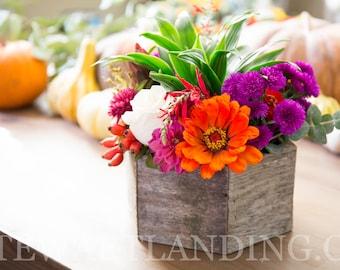 "8"" Hexagon Reclaimed Wood Planter Box | Geometric Succulent Hexagon Planter | Flower Box | Rustic Wedding Centerpiece | Wedding Table Decor"