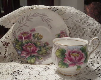Royal Albert Cup and Saucer - Flower of the Month 'Water Lily' - English Tea Set - Vintage Tea Set - Cup and Saucer Set - Royal Albert set