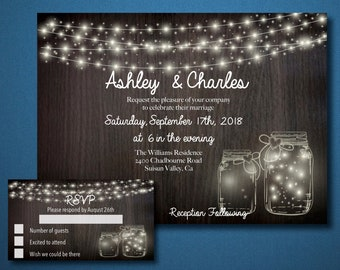 Rustic Wedding Invitation w/ RSVP Card