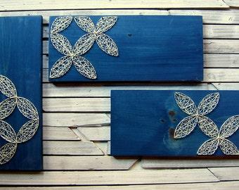 Circular Geometric Designs - Island Blue - Modern String Art  - Set of 3