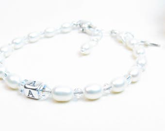 Personalized Baby Girl Bracelet - Baptism / Christening Bracelet - Little Girl Jewelry - Girl First Communion/Confirmation Gift - Rice Pearl