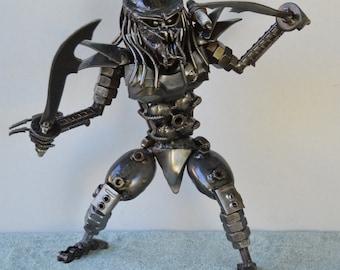 PREDATOR 12 inches, with double Sword - Scrap Metal Art