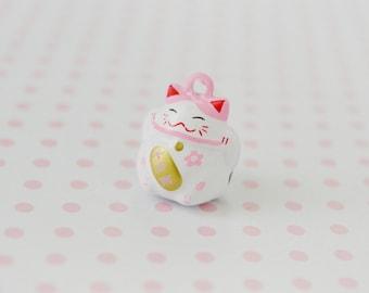 21mm Kawaii Pastel Pink Maneki Neko Beckoning Cat Jingle Bell Pendant Charm Decoden Cabochon - 1 piece