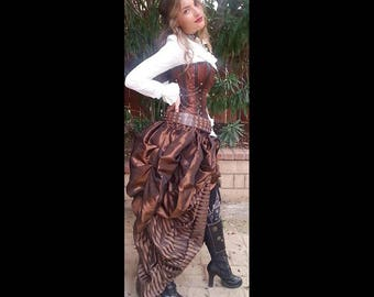 Ready to Ship 3PC Steampunk Brown Corset w/STRIPED BROWN long, short brown skirts Double Bustle Skirt Victorian Costume Halloween Dress Goth