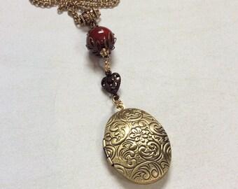 Brass locket necklace.Paisley pattern locket.Filigree heart.