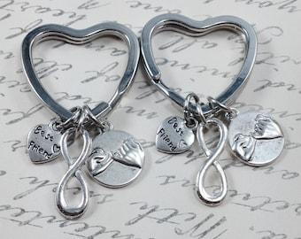 Best friend keychain, infinity keychain, pinky promise keychain, bff keychain, heart keychain