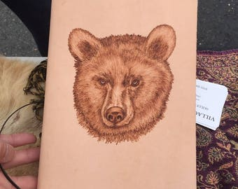 Refillable Leather Journal with Burned Black Bear Design