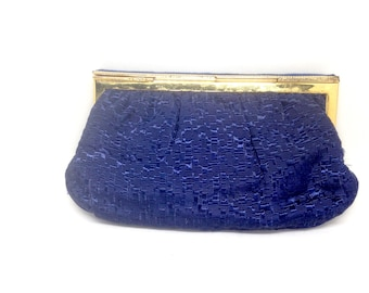 Vintage  Estate Whitting and Davis Blue Purse with Gold Chain