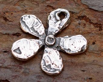 Artisan Funky Mod Flower Charm, Sterling Silver Flower Charm, CH-458