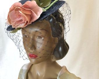 1940s Navy Straw Boater Tilt Hat