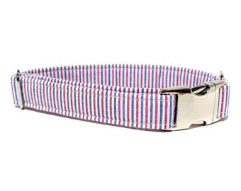 Red, White and Blue Dog Collar | Americana Striped Seersucker Dog Collar with Metal Buckle | Boy Dog Collar | 4th of July Dog Collar