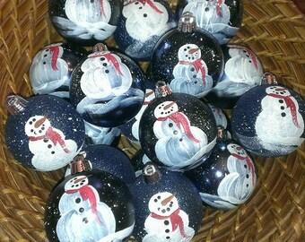 Blue Snowman Hand Painted Ornament