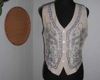 Vintage embroidered Authentic BALISTIK Vest Blue and linen Woman's L medium Large