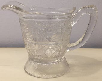 """EAPG  Atterbury """"SUNFLOWER"""" aka """"LILY"""" Creamer Pitcher Vintage Antique Embossed Floral c.1881"""