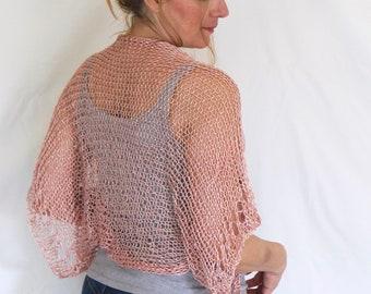 Dusty pink summer shrug, shimmering loose knit shrug