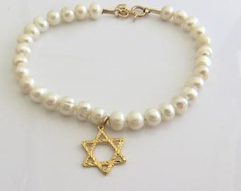 Star of David beaded bracelet, pearl beaded bracelet, dainty gold bracelet, bat mitzvah gift, judaica, Jewish jewelry
