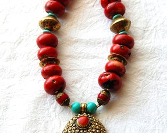Large Red Bamboo Coral Chunky Big Beads Buddha Head Pendant Zen Inspired Necklace, ZL04173 Big Buddha Red