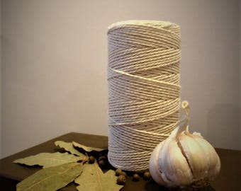 2 mm Natural Cotton Twisted Cord (150 meters long) for Macrame/White Baker's Twine/Food Rope/Macrame Cord/Wrapping Cord/Natural Cotton Twine
