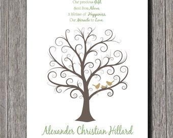 Baby Shower Fingerprint Tree -  24x36 - Guest Book Tree - NB - 250 Fingerprints