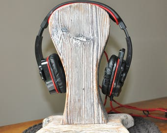 Reclaimed Wood Headphone Stand #1, Wooden Headphone Holder, Drift Wood Headphone Stand, Rustic Headphone Stand  by www.art-tarkowski.com
