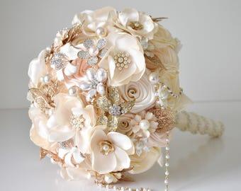 Gold Brooch bouquet Vintage bouquet Satin ribbon bouquet Beige and ivory bridal bouquet