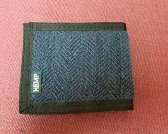 Minifold Wallet (Indigo Hemp Herringbone Canvas)