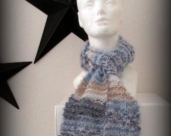 Scarf - blue scarf - hand knit scarf - knit scarf - blue knit scarf - wool knit scarf - soft knit scarf - fashion knit scarf - ruffle scarf