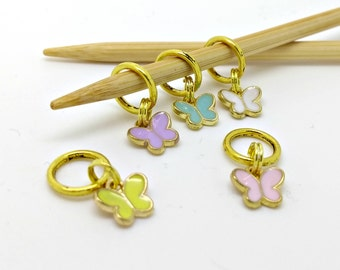 Butterfly stitch markers - tiny butterflies stitchmarkers -small  place holder notions - knitting accessories - knitting crochet notions