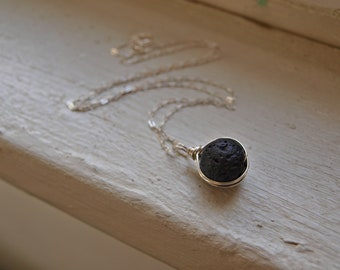 Essential Oil Diffuser Necklace Lava Essential Oil Diffuser Necklace Sterling Silver Lava Necklace Volcanic Lava Pendant Aromatherapy Gift