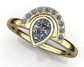 tempest ring - pear cut NEO moissanite ring, 14k yellow gold stacking ring