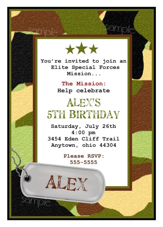 camo party invitations