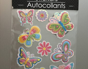 Scrap-booking Stickers Paper Craft Butterfly Flower Colorful Pastel colors Autocollants  Ten (10)