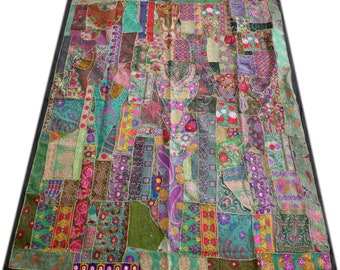 """Boho patchwork quilt """"free spirit"""" bohemian bedspread ,Indian bedding, hippie tapestry, multicolor  patchwork quilt bohemian gypsy throw"""