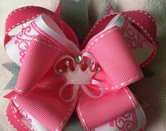 "A Bueatiful Handmade 5"" Pink and White Princess Hair Bow"