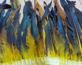 ROOSTER Feather Trim - 30cm YELLOW