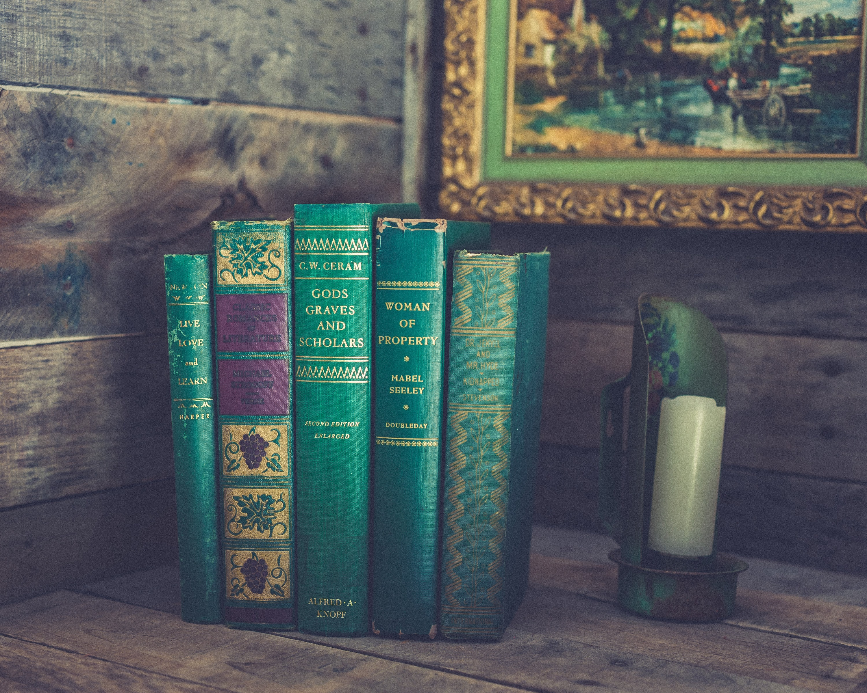 Vintage Decorative Books Old Antique Book Stack Rustic Shabby