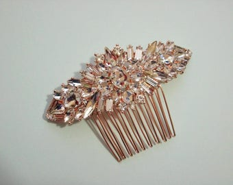 Rose Gold Hair Comb, Gorgeous Sparkle, Quality Swarovski Rhinestones, Wedding Hair Comb, also available in Silver