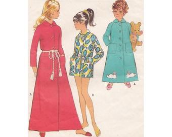 60s Girls Dressing Gown- Housecoat- Robe in 2 Lengths Size 10 Breast 28.5 Style 2627 Tie Belt Raglan Sleeves Vintage Sewing Pattern