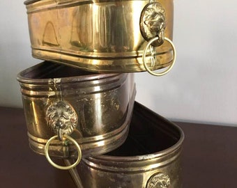 Long Brass Lion Head Planters / Vintage Windowsill Planter Lot / 3 Graduating Brass Planter Boxes / Flower Boxes / Indoor Herb Garden