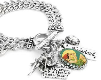Peter Pan Charm Bracelet, Fairy Charm Bracelet, Peter Pan Jewelry with crystals