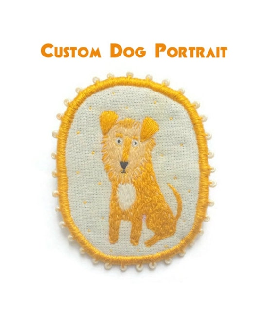 Personalized Custom Dog Portrait. Commission. Dog Brooch, hand embroidered textile art jewelry. Custom Portrait.