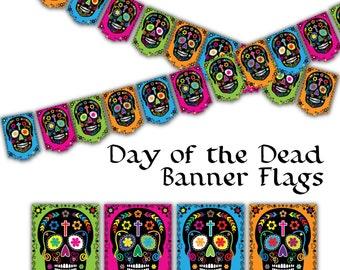 Día de los Muertos - Day of the Dead Skull Banner - printable - instant download