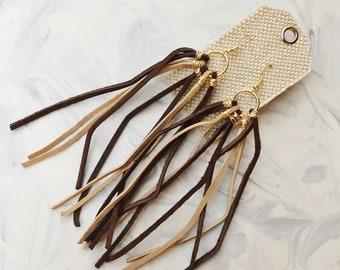 Wire-wrapped suede tassel earrings