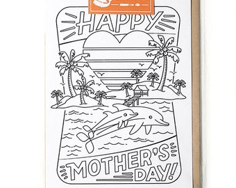 Mothers Day Cards, Best Mom Card, Mothers Day Greeting Cards, Coloring Cards, Unique Cards for Her