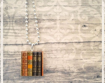 Scrabble Necklace, Vintage Library Books, Book Necklace, Gift For Her, Literary Jewelry, Scrabble Jewelry, Scrabble Pendant Charm